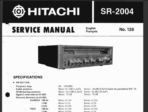 hitachi sr 2004 service manual analog alley manuals. Black Bedroom Furniture Sets. Home Design Ideas