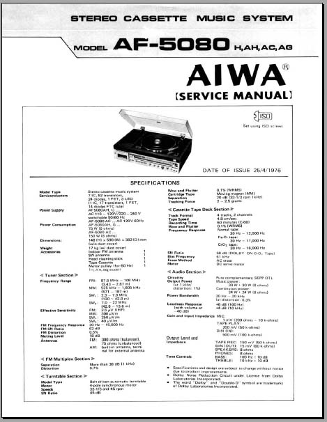 Aiwa Af 5080 Service Manual Analog Alley Manuals