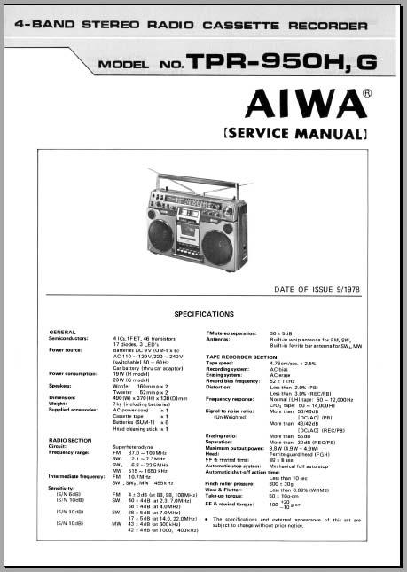 aiwa tpr 950 service manual analog alley manuals. Black Bedroom Furniture Sets. Home Design Ideas