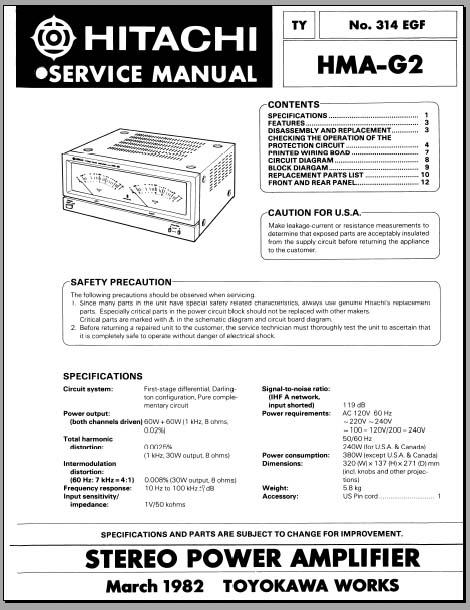 hitachi hma g2 service manual analog alley manuals. Black Bedroom Furniture Sets. Home Design Ideas