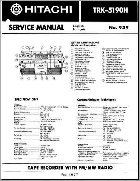 hitachi trk 5190h service manual analog alley manuals. Black Bedroom Furniture Sets. Home Design Ideas