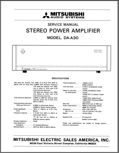 mitsubishi da a30 service manual analog alley manuals. Black Bedroom Furniture Sets. Home Design Ideas