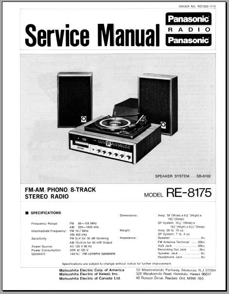 panasonic re 8175 service manual analog alley manuals