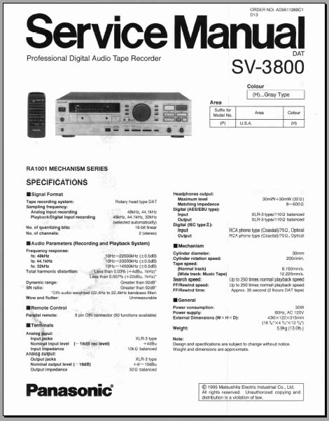 Panasonic sv 3800 manual