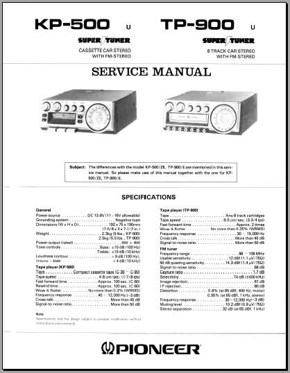 pioneer kp 500 u tp900 u service manual analog alley. Black Bedroom Furniture Sets. Home Design Ideas