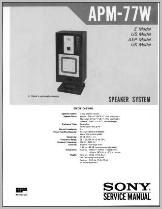 sony apm 77w service manual analog alley manuals. Black Bedroom Furniture Sets. Home Design Ideas