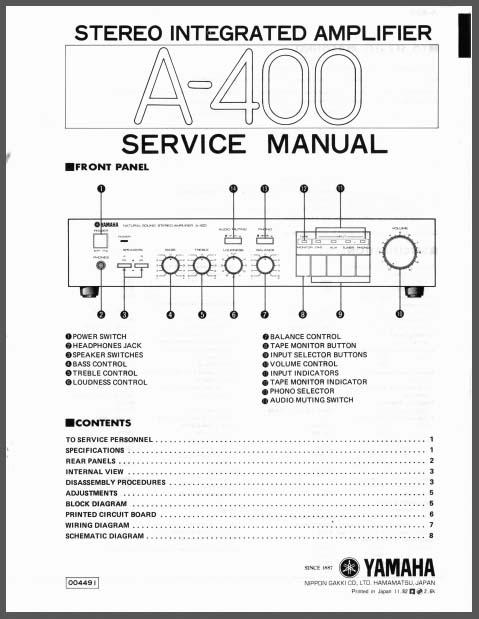 yamaha a 400 service manual analog alley manuals. Black Bedroom Furniture Sets. Home Design Ideas