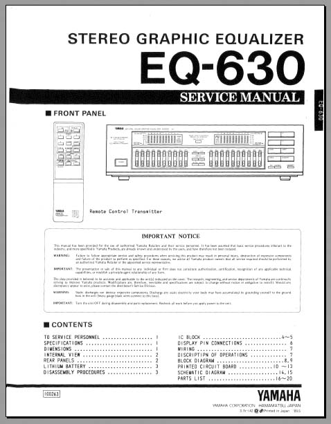 yamaha eq 630 service manual analog alley manuals. Black Bedroom Furniture Sets. Home Design Ideas