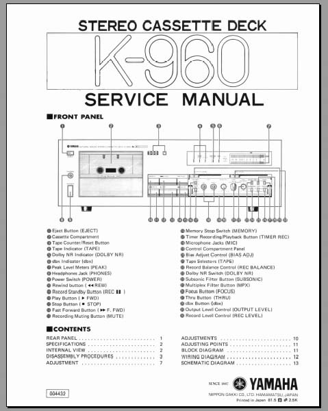 wiring diagram for kenwood deck yamaha k 960 service manual  analog alley manuals  yamaha k 960 service manual  analog alley manuals
