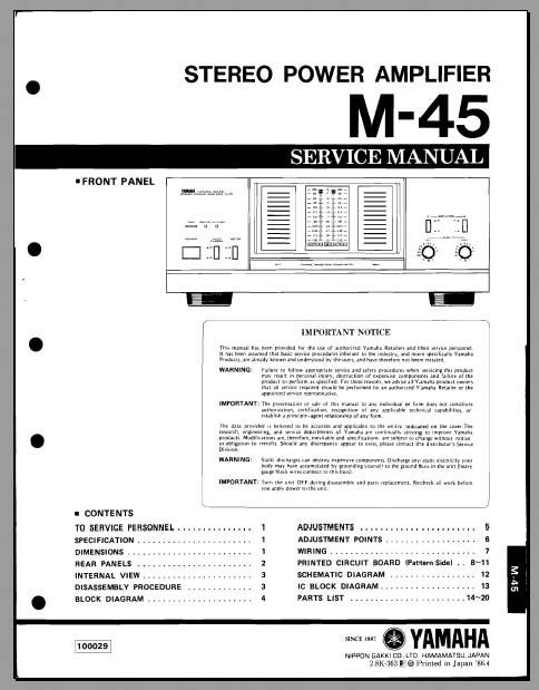 yamaha m 45 service manual analog alley manuals. Black Bedroom Furniture Sets. Home Design Ideas