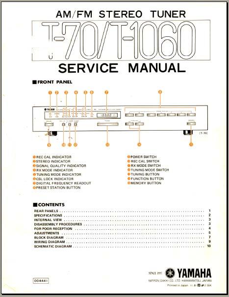 yamaha t 70 t 1060 service manual analog alley manuals. Black Bedroom Furniture Sets. Home Design Ideas