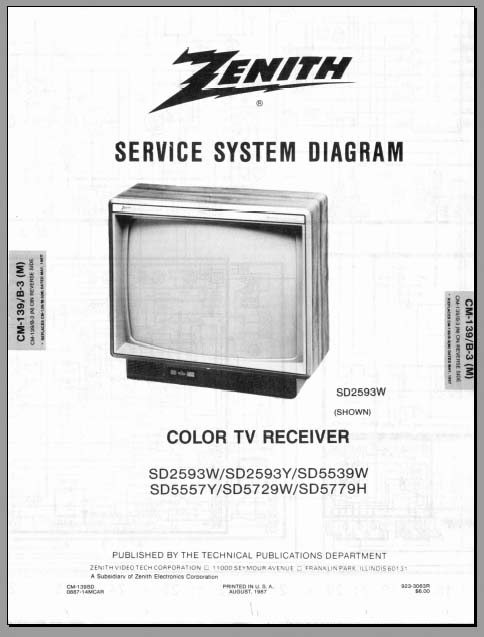 zenith tv service  various models   analog alley manuals