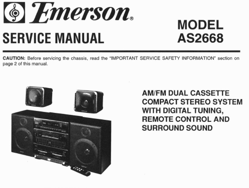 emerson as2668 service manual analog alley manuals. Black Bedroom Furniture Sets. Home Design Ideas