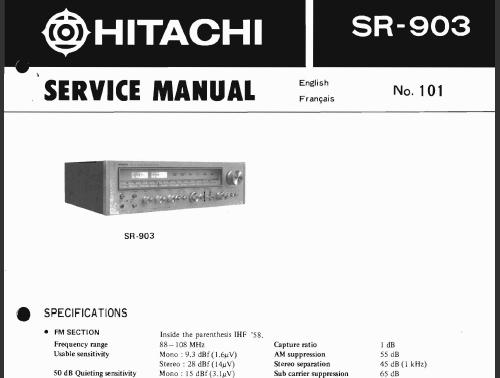 hitachi sr 903 service manual analog alley manuals. Black Bedroom Furniture Sets. Home Design Ideas