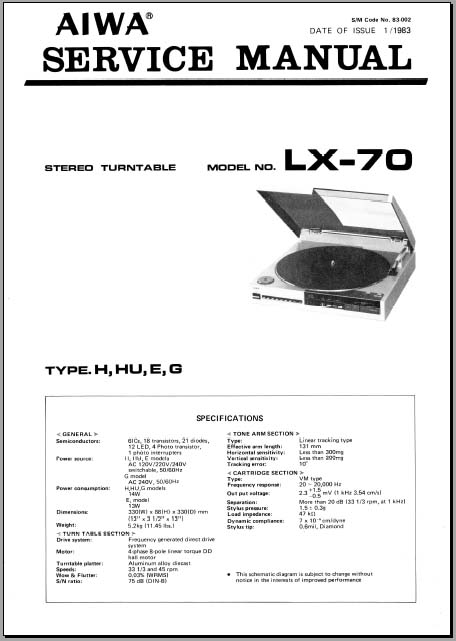 aiwa lx 70 service manual analog alley manuals. Black Bedroom Furniture Sets. Home Design Ideas