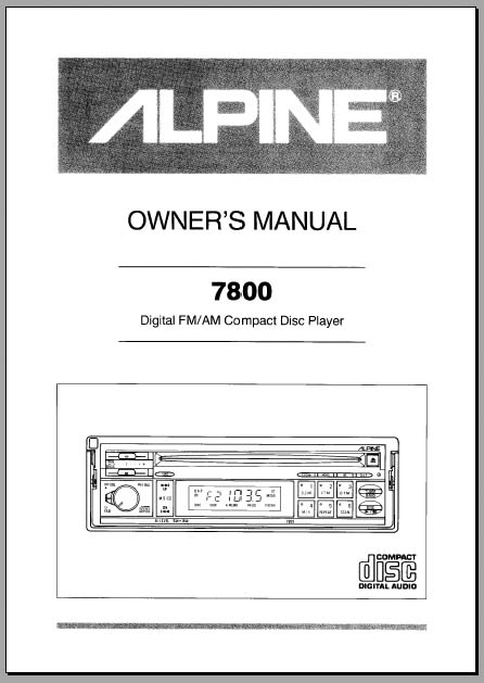 alpine 7800 car stereo owners manual  analog alley manuals User Guide Icon User Guide Icon