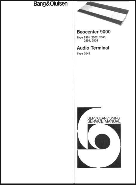 bang  u0026 olufsen beocenter 9000 service manual  analog alley