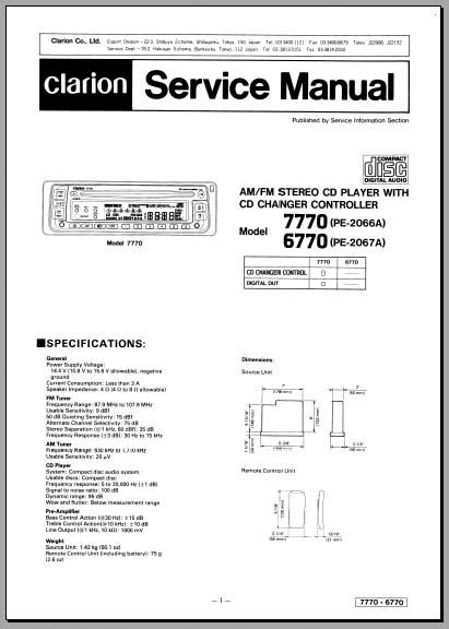 clarion 6770 7770 service manual analog alley manuals. Black Bedroom Furniture Sets. Home Design Ideas
