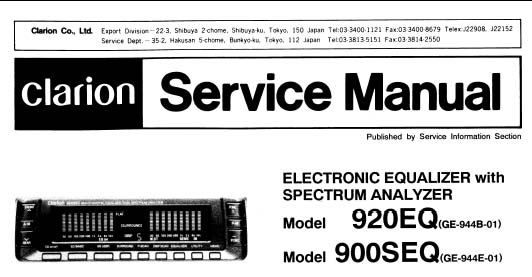 Clarion 900SEQ Service Manual, Analog Alley Manuals