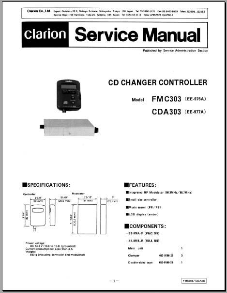 clarion fm c303 cda303 service operation manual analog. Black Bedroom Furniture Sets. Home Design Ideas