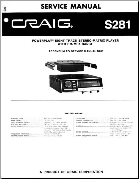 craig s281 service manual analog alley manuals. Black Bedroom Furniture Sets. Home Design Ideas