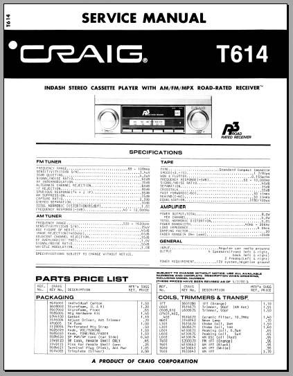 craig t614 service manual analog alley manuals. Black Bedroom Furniture Sets. Home Design Ideas