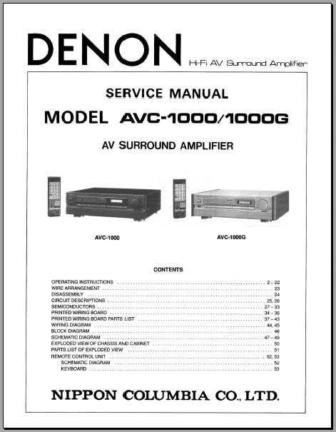 Denon Avc   1000g Operating Instructions      Service