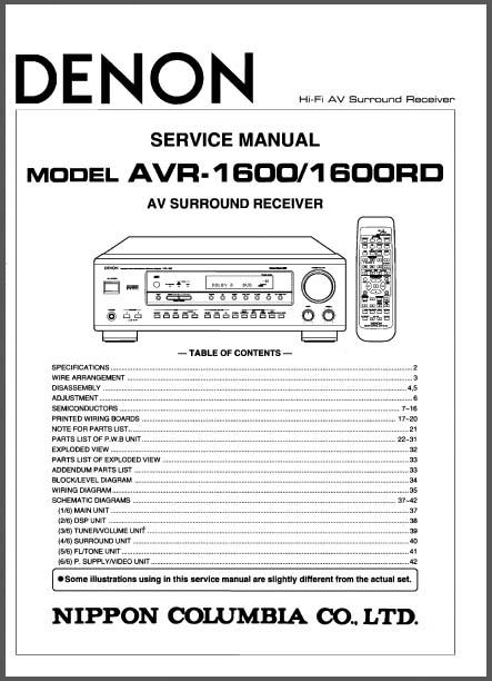 denon avr 1600  1600rd service manual  analog alley manuals