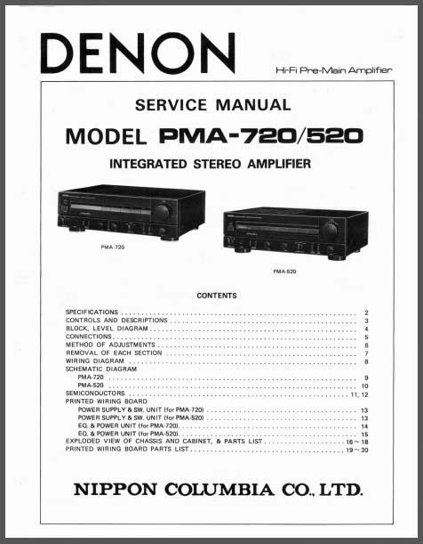 Denon PMA-720, 520 Service Manual, Analog Alley Manuals