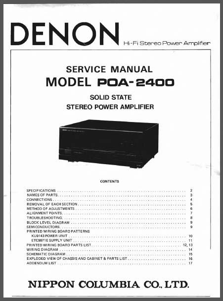 Denon POA-2400 (2400A) Service Manual, Analog Alley Manuals