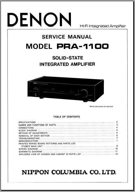 denon pra 1100 service manual  analog alley manuals
