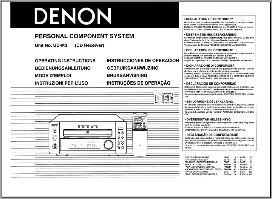 Denon Ud M3 Operating Instructions Analog Alley Manuals