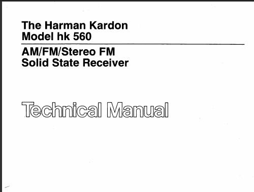 harman kardon model 560 technical manual analog alley manuals. Black Bedroom Furniture Sets. Home Design Ideas