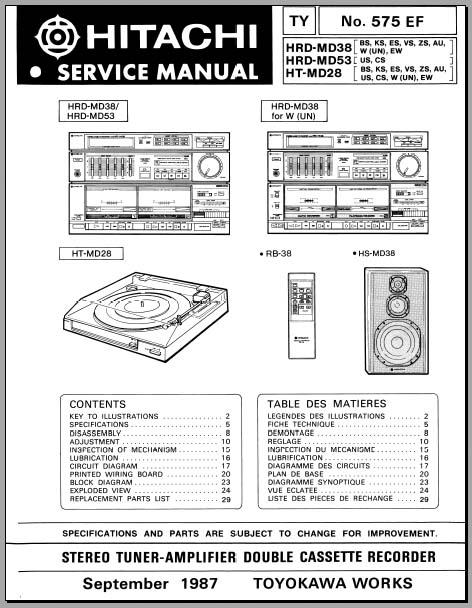 hitachi hrd md38 hrd md53 ht md28 service manual analog. Black Bedroom Furniture Sets. Home Design Ideas