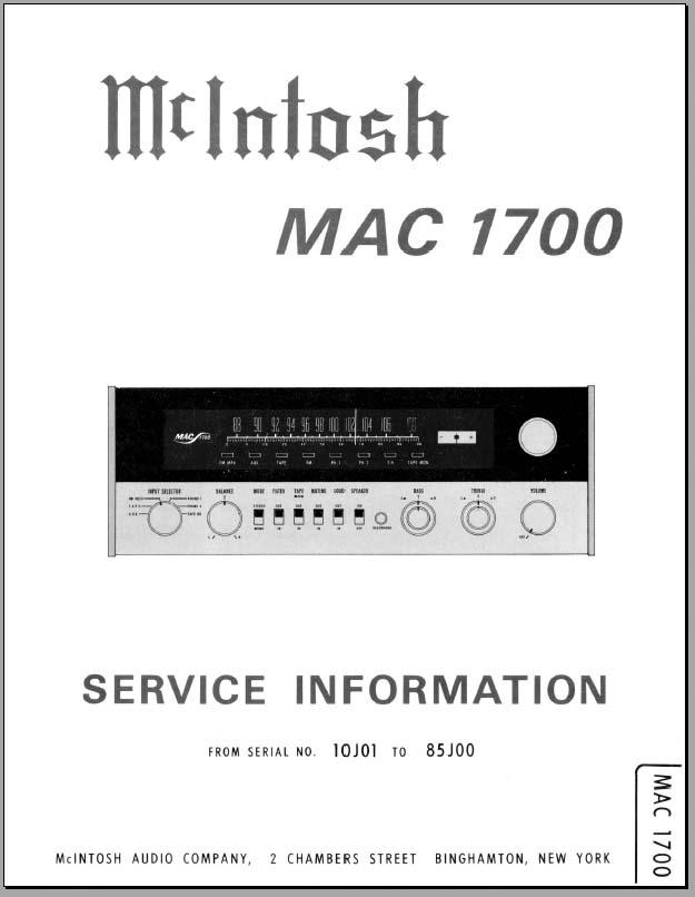 Mac 1700 service manual free