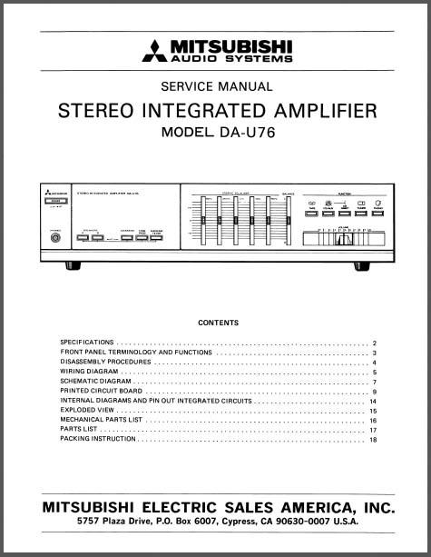 mitsubishi da u76 service manual analog alley manuals. Black Bedroom Furniture Sets. Home Design Ideas