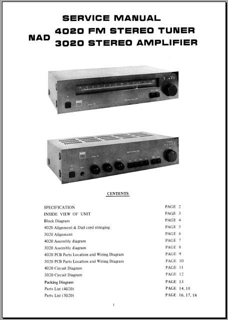 NAD 3020, 4020 Service Manual, og Alley Manuals on