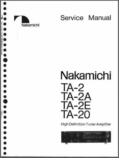 Nakamichi Ta E  A  20 Service Manual  Analog Alley Manuals