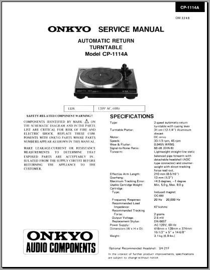 onkyo cp 1114a service manual analog alley manuals