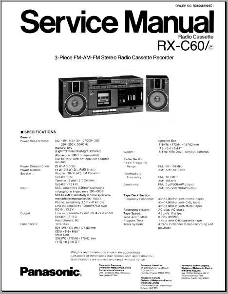 Panasonic RX-C60 boombox Service Manual, Analog Alley Manuals