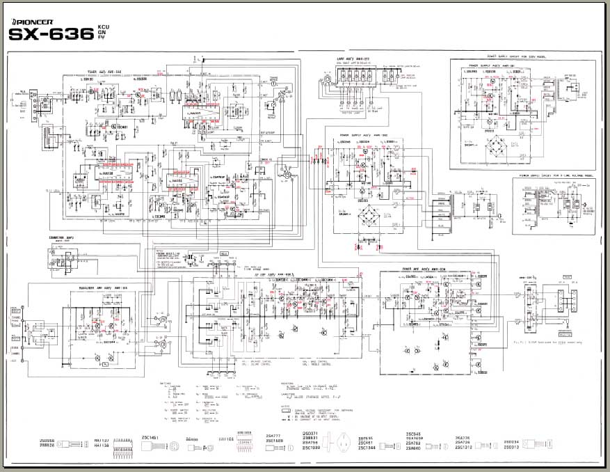 Pioneer SX-636 Schematic Diagram, og Alley Manuals on