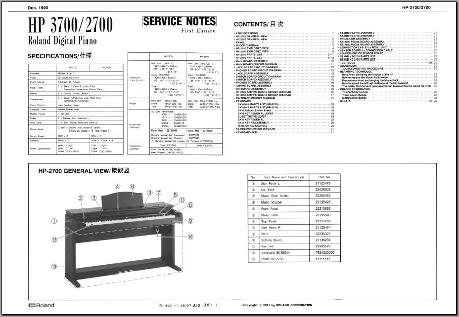 roland hp 2700 service notes  analog alley manuals
