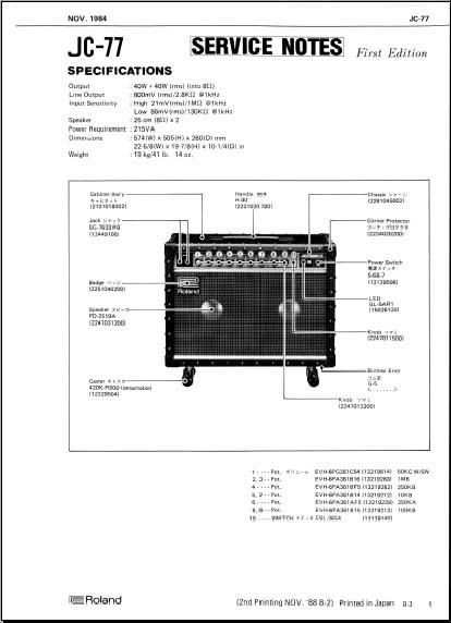 Roland Jc 77 Service Notes Analog Alley Manuals