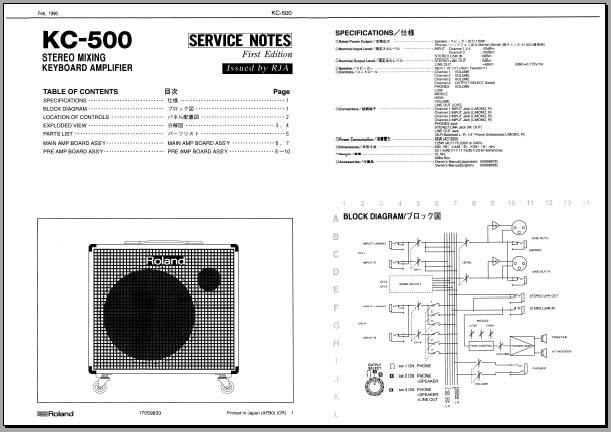 Roland KC-500 Service Manual, Analog Alley Manuals