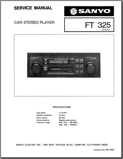 Sanyo Ft 325 Service Manual  Analog Alley Manuals