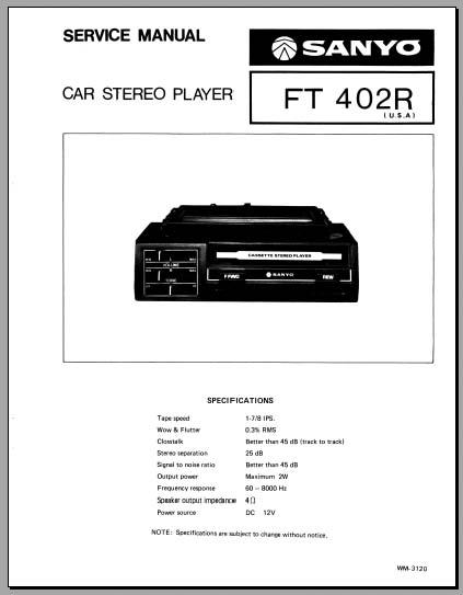 sanyo car stereo wiring diagram old car stereo wiring diagram colors sanyo ft-402r service manual, analog alley manuals