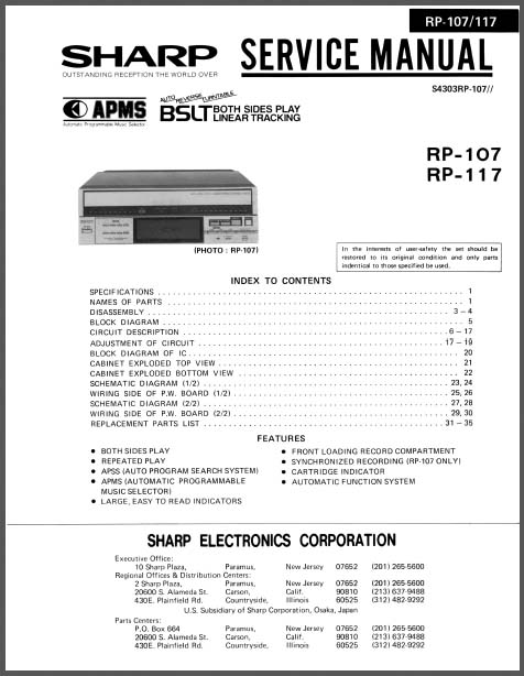 Sharp Rp  117 Service Manual  Analog Alley Manuals