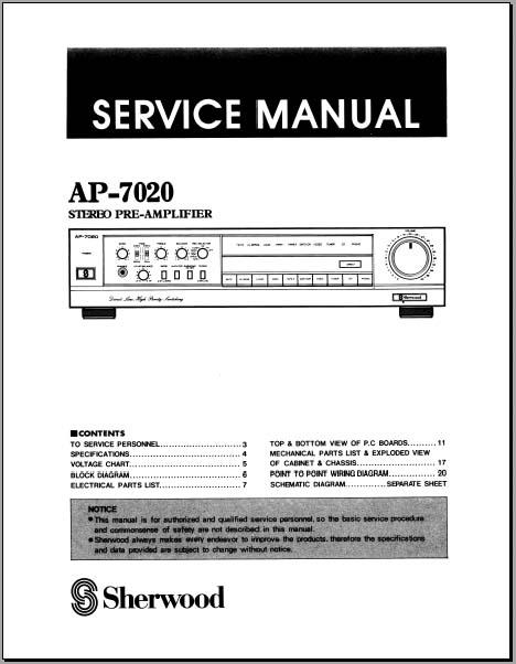 sherwood ap 7020 pre amplifier service manual analog. Black Bedroom Furniture Sets. Home Design Ideas