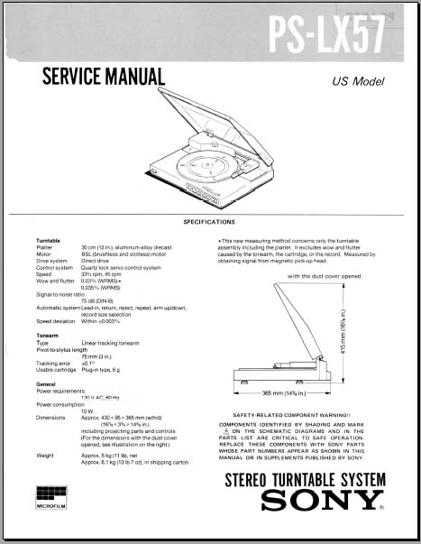 Sony Ps  Lx57 Service Manual  Analog Alley Manuals