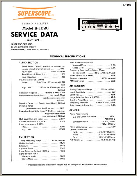 Superscope R-1220 Service Manual /PDF format, Analog Alley
